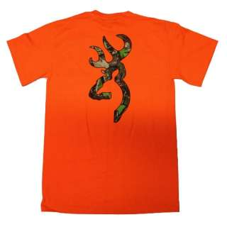Orange Browning Camouflage Buckmark T Shirts   Logo Color Camo
