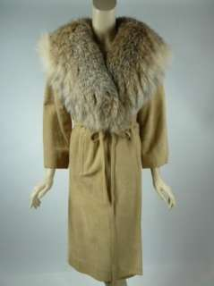 FUR COLLAR 80s Vintage + Tan Suede Long COAT FITS 8 10 MEDIUM