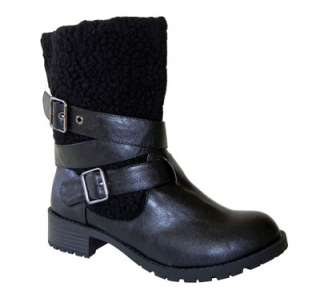 Trendy Shearing Shaft Buckle Straps Slip in Combat Ankle Boots Black