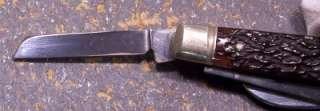 VINTAGE SHAPLEIGH 4 BLADE CONGRESS BONE HANDLE KNIFE, NEAR MINT