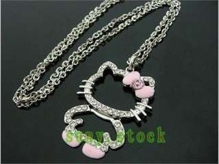 HOT CUTE hello kitty crystal folding necklace pink L59