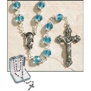 25 Inches Long, Ave Maria March Aquamarine, 6 X 8 Mm Double Capped