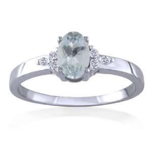 MARCH Birthstone Ring 14k White Gold Diamond & Aquamarine