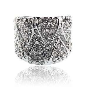 Pave Crystal Bridal Wedding Ring Size 8 Fashion Jewelry Jewelry