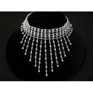 Bridal Wedding Choker Necklace White Pearl Crystal Cascade jewelry