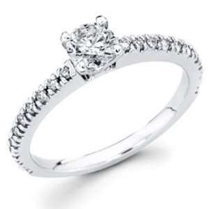 14K White Gold Round cut Diamond Solitaire Engagement Ring Band