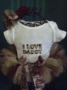 Newborn Infant Baby Camo Tutu w/I Love Daddy romper