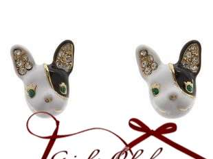 Johnson Cute Dog With Green Crystal Eyes Black White Stud Earring