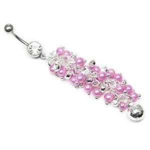AM5408   Long Dangly rose pink pearl and crystal cluster ornate Belly