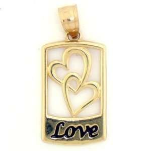 10K Solid Yellow Gold Love Heart Enamel Pendant Charm