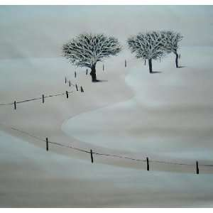 White Snow Covered Farm Land in Winter Oil Painting 32 x