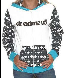 DEADMAU5~ WHITE BLUE BLACK ALL OVER GIRLS FRONT ZIP LICENCED HOODIE