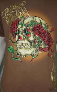 Christian Audigier Hardy Skull Roses STONE T BROWN XXL
