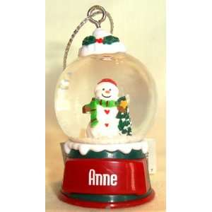 Anne Christmas Snowman Snow Globe Name Ornament