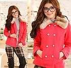 Womens Wool Blends Faux Fur Jacket Coat, Size L, RED 2209, BNWT