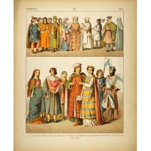 1882 Costume French Medieval Knights Citizens Friar
