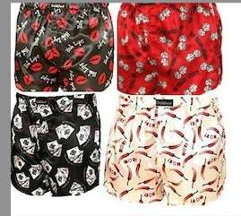 FREE P+P NEW MENS 4 PACK SEXY DESIGNER SATIN PRINTED BOXER SHORTS S/M