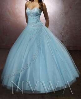 Pink/Light Blue Strapless Bridesmaid Bridal Wedding Quinceanera Dress