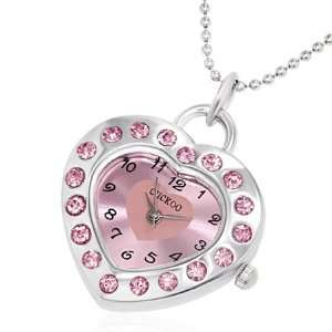 Fashion Crystal Love Heart Charm Pocket Watch Necklace with Gem Stones