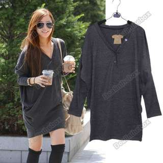 Fashion Hotsales Womens Batwing V neck Loose Long Tops T shirt Black