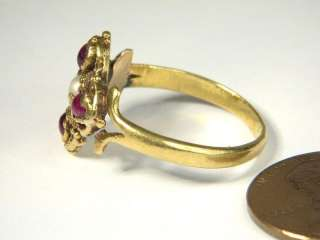 LOVELY ANTIQUE SPANISH ? 22K GOLD RUBY PEARL RING c1800