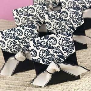 50 Black & Ivory Flourish Tent Wedding Favor Boxes
