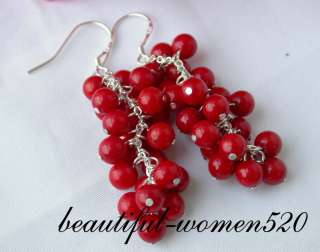nature nature 5mm red coral dangle earring 925silver hook . My work