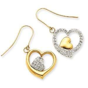 14k Crystal Double Heart Dangle Wire Earrings Jewelry