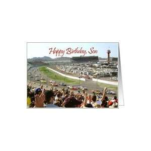 Happy Birthday, Son at NASCAR racetrack Card: Toys & Games