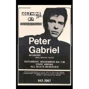 Peter Gabriel (Concert Sheet) Music Poster Print   11 X