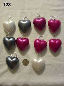 10 Colorful Large PUFFED Heart Pendants Pink White Gray
