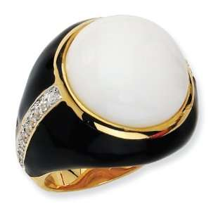 Gold plated Sterling Silver Blk Enam Simulated Wht Agate and CZ Ring