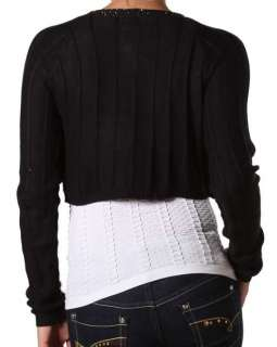 Brown Bead Long Sleeve Cropped Bolero/Shrug/Cardigan S/M/L
