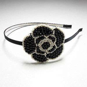 popular fasionable black bead flower head hair band