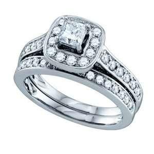 1 1/2 Carat Princess Round Diamond 14k White Gold Bridal