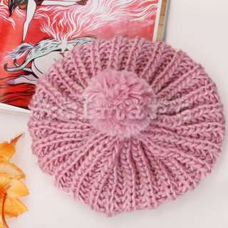 Korea Girl Winter New Knit Beanie Hat Crochet Skull Cap Beret w/ Poms