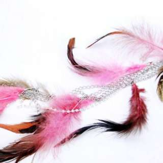 Feather Dangle Earring Swarovski Crystal Hair Extension Bird Plume
