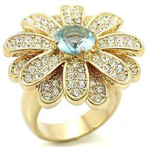 Gold Plated Aquamarine Cubic Zirconia Flower Ring Jewelry