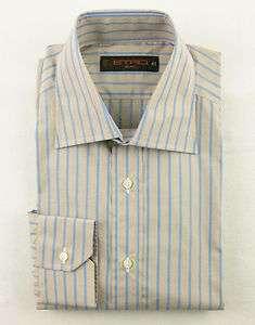 New ETRO Milano Italy Brown & Blue Stripe Dress Shirt L 16 41 NWT $370