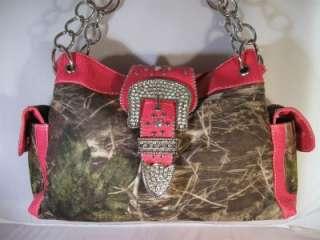 Hot Pink Mossy Camo Rhinestone Buckle Side Pocket Western Cowgirl