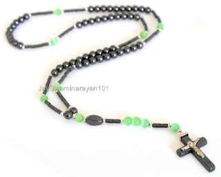 Black Hematite Green Cats eye Beads Rosary Necklace 25