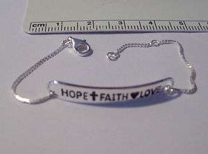 Sterling Silver Love Hope Faith Child Bracelet