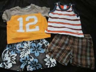 BOY 6 9 12 MONTH SPRING SUMMER FALL SHORT SHIRT CLOTHES LOT #5