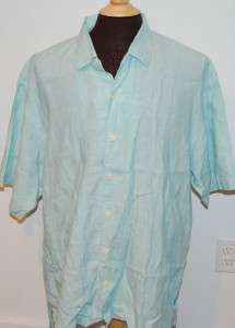 TOMMY BAHAMA Light Teal/Aqua WOVEN 100% LINEN SHIRT mens XXL   Visible