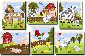 Farm Animal Kids Bedroom Baby Nursery 8x10 Kids Art