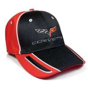 Corvette C6 Black, Red Pique Mesh Baseball Cap, Official