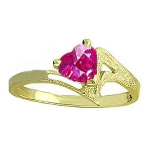 Genuine Heart Pink Topaz 14k Gold Promise Ring Jewelry