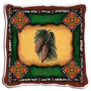 Pine Cone Lodge Pillow   17 x 17 Pillow Home & Kitchen