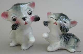 Vtg Figural KITTY CAT Salt & Pepper Shaker Set JAPAN Porcelain Playful
