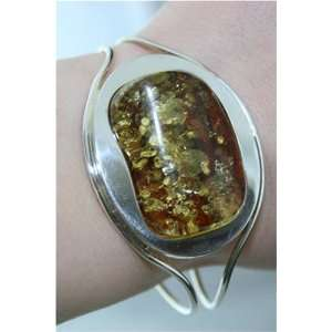 Extra Large Sterling Silver & Natural Baltic Amber Bracelet 32,80